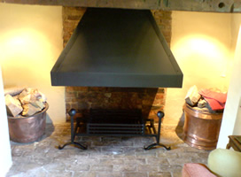 Riveted canopy and dog grate & Fireplaces - Suffolk metalwork - Barking Engineering - The Forge